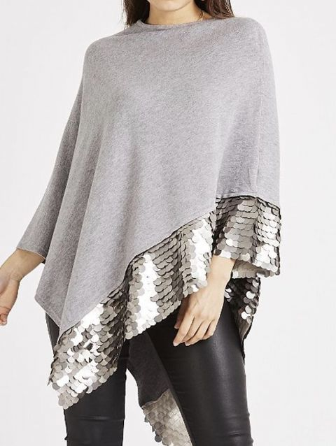 Shimmer Sequin Poncho Grey